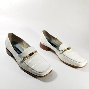 Etienne Aigner White Leather Square Toe Loafers